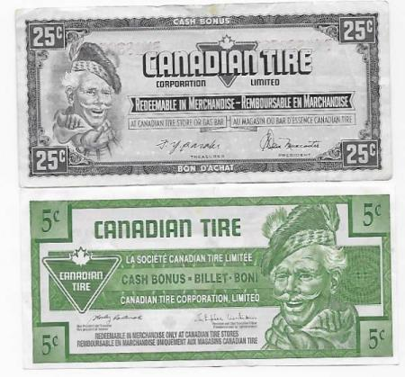 Canada lot  5 & 25 cents tire money