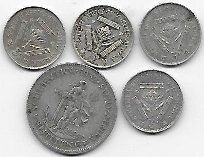 Lot Syd-Africa 3 pence 1950,40,40,32,1shilling 1932