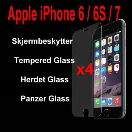 iPhone 6 / 6S / 7 -- 4 stk. Herdet Glass / Tempered Glass