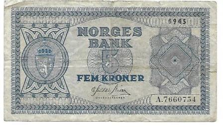 Norge 5 kroner 1945 A
