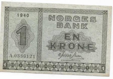 Nydelig Norge 1 krone 1940 A